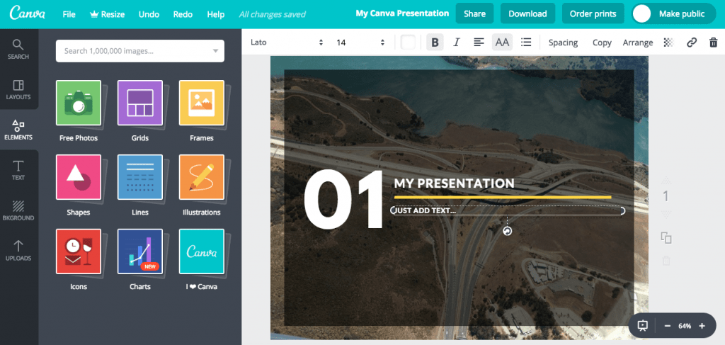 Canva slide design workspace