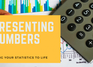 """Image of calculator and charts with text reading, """"Presenting numbers: bring your statistics to life"""""""